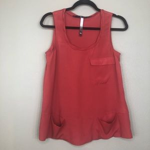 Kensie Rust Sleeveless Blouse with Pockets